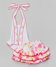 Look what I found on #zulily! White Halter Top & Pink Dahlia Skirt - Toddler & Girls #zulilyfinds