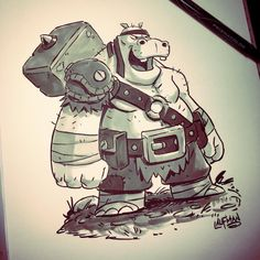 Inktober Day 30 - Hippo Thug. One last RuinWorld character design for Inktober. Check out my comic at www.facebook.com/ruinworld #inktober #characterdesign #ruinworld #inktober2016 #dereklaufman #hippo #hippopotamus