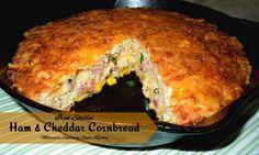 Melissa's Southern Style Kitchen: Iron Skillet Ham and Cheddar Cornbread