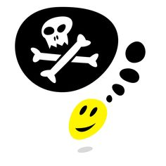 Download #free #vector stock #illustration: Yellow smiley face and Jolly Roger and blank black speech bubble with gray drop shadow on white background