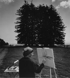 Ansel Adams University of California, Santa Cruz Painting Class, Road, and Redwoods April 1967