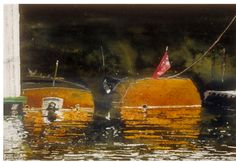 """launches / duke's marina port carling  (2) 11"""" x 15"""" micheal zarowsky watercolour on arches paper / private collection"""