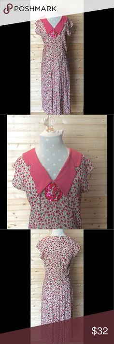 Beautiful Vintage A-Line Dress Adorable handmade vintage dress with pink flowers. Very feminine and one of a kind. Very well made and in great condition. Chest 18 Waist 16 Length 48. All measurements are with garment lying flat. Dresses