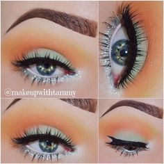Classic smokey mint green glitter/ sparkle dark blended eye makeup color, colorful eyeshadow, eyeliner wing, eyebrow shape/ brows, highlights/ lowlights contour, orange, gold