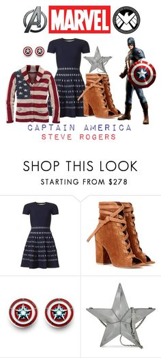 """Captain America (Steve Rogers) - Disney Bound"" by theliviafiles on Polyvore featuring Gianvito Rossi, Reactor, Moschino and Marvel"