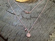 Rose gold plated silver charm necklace