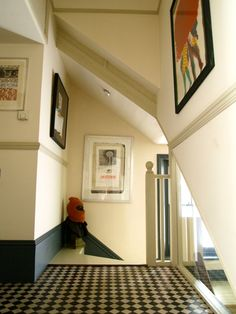 could i do dark skirting boards and then coloured dado rails? Floor Skirting, Skirting Boards, Hallway Decorating, Decorating Ideas, Decor Ideas, Tiled Hallway, Dado Rail, Front Rooms, House Built