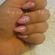 Rosa con brillanti e NailArt Pizzorosa1