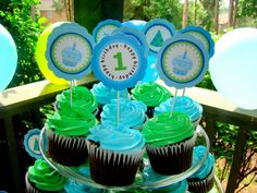 Boy Blue and Green Polka Dots Cupcake Toppers or by CaringDesigns, $12.00