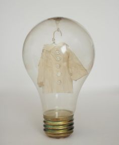 What better place for these miniature clothes than inside a lightbulb?  They are made out of Japanese paper treated with konnyaku, hand...