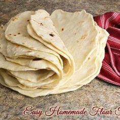 Easy Homemade Flour Tortillas are simple to make in your own kitchen and they taste fantastic! Get the recipe at Busy-at-Home.