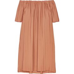 Adam Lippes Off-the-shoulder pleated georgette tunic ($1,545) ❤ liked on Polyvore featuring dresses, brown and adam