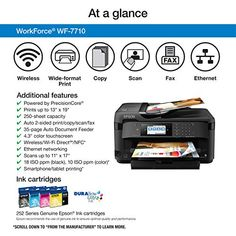 Epson WorkForce WF 7710 Wireless Color Inkjet 19 Wide Format All In One Printer Copier Scanner Fax Printer Scanner Copier, Laser Printer, Small Printer, Epson Inkjet Printer, Document Printing, Multifunction Printer, Specialty Paper, Wifi, Amazon