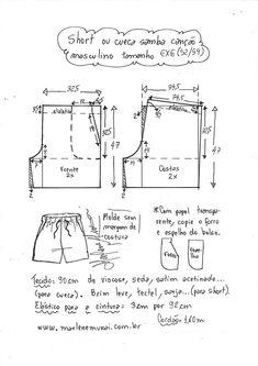 Sewing Shorts, Sewing Clothes, Diy Clothes, Como Fazer Short, Clothing Patterns, Sewing Patterns, Sewing To Sell, Pattern Cutting, Pajama Shorts