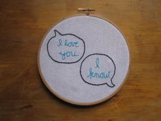 I love you I know embroidered Star Wars quote by Saganomics, $14.00