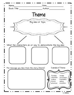 Theme Graphic Organizer Free I created this theme graphic organizer for a friend and decided I would share it with you all. Please check out my other graphic organizers! Third Grade Reading, Middle School Reading, Reading Lessons, Reading Strategies, Guided Reading, Teaching Writing, Teaching Resources, Teaching Ideas, Reading Themes
