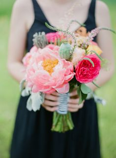 Preppy pink wedding bouquet | Photography: Summer Street Photography - www.summerstreetphotography.com  Read More: http://www.stylemepretty.com/2014/06/10/rustic-meets-preppy-vineyard-wedding-at-rosedale-farms-by-summer-street-photography/