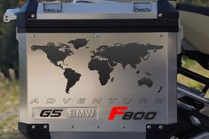 """BMW GS Motorcycle Decal Kit """"F800 World Adventure Map"""" for Touratech Panniers"""