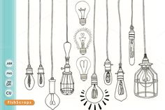 Light Bulb Digital Stamps - Outlines by FishScraps on Creative Market