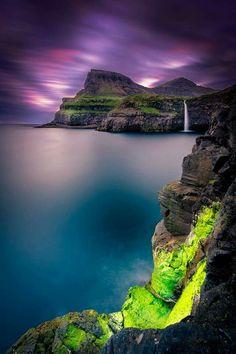 Waterfall at Sunset in Iceland #BeautifulNature #Waterfalls #NaturePhotography…