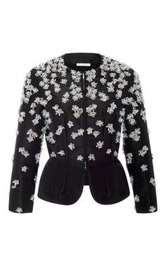 This collarless **Oscar de la Renta** jacket is crafted in silk faille and features a tailored fit with floral beaded embellishment and a peplum hem.