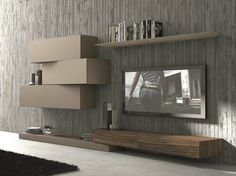 Sectional wall-mounted TV wall system InclinART - 263 by Presotto Industrie Mobili design Pierangelo Sciuto Canapé Design, Tv Unit Design, Tv Wall Design, House Design, Interior Design, Design System, Modern Design, Tv Furniture, Furniture Design