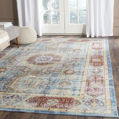 Safavieh Valenica Blue/ Multi Polyester Rug (8' x 10') - Overstock Shopping - Great Deals on Safavieh 7x9 - 10x14 Rugs