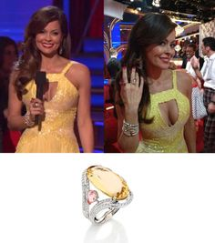 """TV Personality Brooke Burke wearing BRUMANI ring from """"Renaissance"""" Collection in white gold with diamonds, champagne citrine and pink tourmaline while on March 27, 2012, night's episode of """"Dancing with the Stars"""". Brooke Burke is the co-host of ABC's hit show """"Dancing with the Stars""""."""