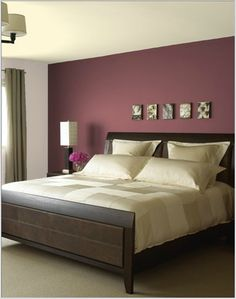 Bedroom Paint Color Ideas would love a burgundy feature wall colour (behind bed) in master bedroom Y Maroon Bedroom, Maroon Walls, Burgundy Bedroom, Burgundy Walls, Burgundy Colour, Feature Wall Bedroom, Bedroom Wall Colors, Bedroom Color Schemes, Bedroom Ideas