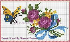 Butterfly Cross Stitch, Mini Cross Stitch, Cross Stitch Heart, Cross Stitch Flowers, Vintage Cross Stitches, Counted Cross Stitch Patterns, Cross Stitch Designs, Cross Stitch Embroidery, Hand Embroidery Flowers