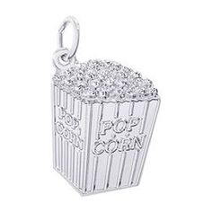 Popcorn Charm, Sterling Silver Food, Movie Charms. #2490