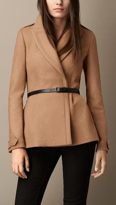 $1,195, Brown Pea Coat: Burberry Double Wool Twill Feminine Pea Coat. Sold by Burberry. Click for more info: http://lookastic.com/women/shop_items/93605/redirect