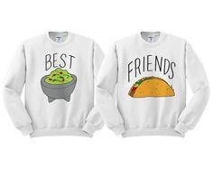 Best Friends Guac And Taco Duo Sweatshirt Set - Bestfriend Shirts - Ideas of Bestfriend Shirts - Best Friends Guac And Taco Crewneck Duo by TeesAndTankYouShop Best Friend Sweatshirts, Best Friend T Shirts, Bff Shirts, Best Friend Outfits, Couple Shirts, Mens Sweatshirts, Best Friends, Teen Swag Outfits, Girl Outfits