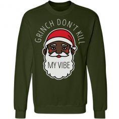 Grinch My Vibe Black Santa Sweater