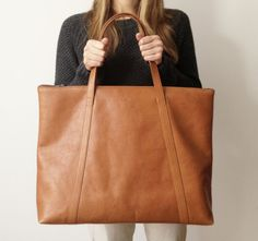 Oversized brown Leather Tote Cowhide tote Leather bag by MISOUI, zł1100.00