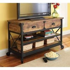 Love the simple rustic look. Better Homes and Gardens Rustic Country Antiqued Black/Pine Panel TV Stand for TVs up to Console Furniture, Industrial Furniture, Vintage Furniture, Vintage Industrial, Rustic Furniture, Furniture Storage, Industrial Style, Console Tables, Garden Furniture