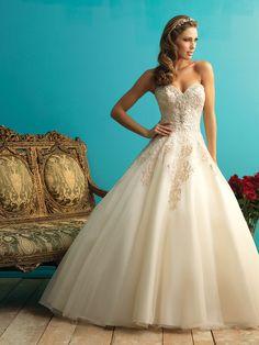 Rich embroidered ballgown wedding dress with Swarski crystals at neckline