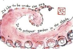"""Inspired by the Beatles' song """"Octopus's Garden,"""" written by Ringo Starr and included in the Beatles' 1969 album """"Abbey Road."""" Beatles Lyrics, The Beatles, Song Lyrics, Octopus Legs, Beatles Party, Pandora Radio, Terms Of Endearment, Drawing Activities, Sumi Ink"""