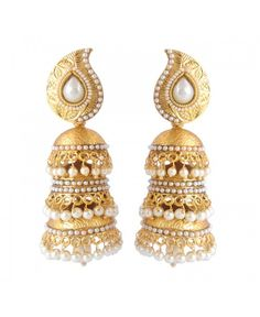 Scintillating Beads Pearl Polki Copper Jhumki Earring_White29