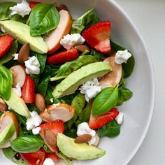 Delicious Easy Spinach And Strawberry Salad With Feta Recipe - Genius Kitchen Watermelon And Feta, Spinach Strawberry Salad, Spinach And Feta, Spinach Bread, Feta Cheese Recipes, Vegan Feta Cheese, Chives Recipes, Cheese Food, Cheese Sauce
