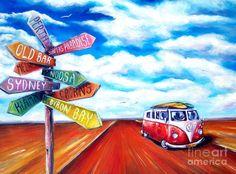 Kombi Painting - Road Trip by Deb Broughton