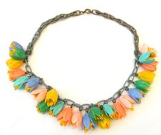 1930s Early Miriam Haskell Czech Style Celluloid Flowers Chain Necklace
