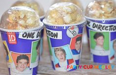 1D One Direction Popcorn Party CupsBirthday by PartyCupMedley, $10.40