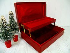 Vintage Christmas Red Two Level Jewelry Box  Retro by DivineOrders