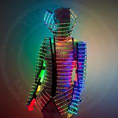 "Rave LED light up rainbow Cage costume outfit / ""Do-maru"" fashion festival costume clothing with logo led belt - from ETERESHOP Logo Led, Light Up Clothes, Light Up Costumes, Estilo Hip Hop, Model Sketch, Led Dress, Fashion Lighting, Festival Fashion, Festival Clothing"