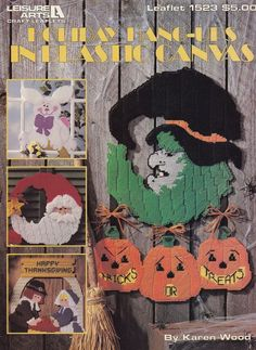 Holiday Hang-ups, Leisure Arts Plastic Canvas Pattern Booklet 1523 Christmas Easter Halloween Thanksgiving Holiday Decor