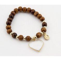 Wood pellet bracelet and said transparent heart