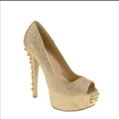 Chinese Laundry Gold Spike Heels