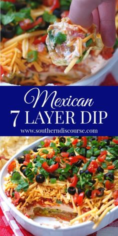 Secret Ingredient 7 Layer Dip This easy, classic recipe for 7 Layer Dip makes the best Mexican bean dip around! With creamy sour 7 Layer Mexican Dip, Mexican Bean Dip, 7 Layer Bean Dip, 7 Layer Dip Recipe, Layered Bean Dip, Mexican Dips, Seven Layer Dip, Mexican Recipes, Mexican Buffet