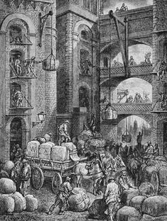 Workers at a London Warehouse  1872 --- An illustration by Gustave Dore from by Blanchard Jerrold. --- Image by © Stapleton Collection/Corbis